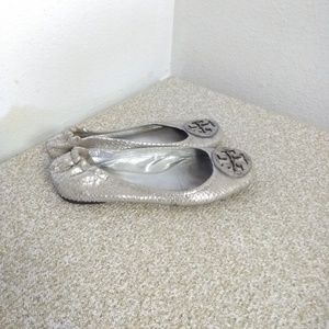 Tory Burch Reva Embossed Leather Flat Shoes
